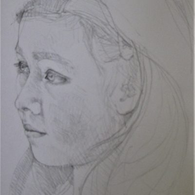 Pencil on paper 20cm x 30cm approx. 20 minute live sitting.