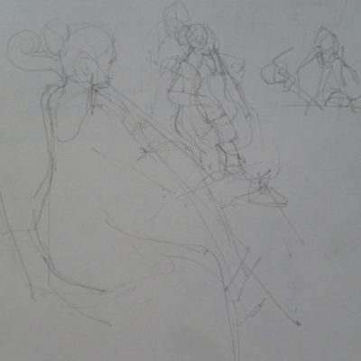 Drawings done of a group of Cellists after their weekend study and practise, made during  the public evening performance.
