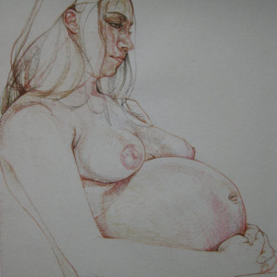 Pastel on paper.  50cm x 70cm approx. Live sitting. This commission involved a days sitting. A chat over coffee and few sketches and photos enabled me to be sure I had the right pose and type of work rightly in mind and allowed the time for the sitter to relax and be comfortable.  When her husband saw it I heard him shout in excitement!