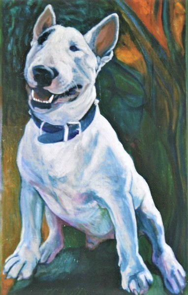 1 of triptych of bull terrier in Sheffield. Oil on Canvas 80cm x 100cm approx