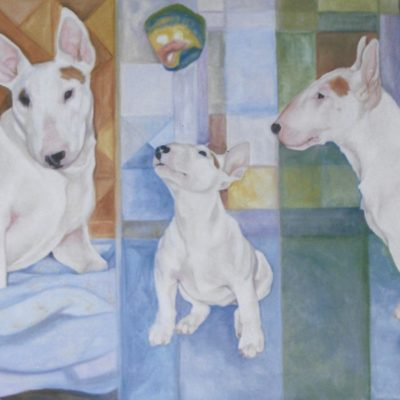 Triptych  3 ages Of a Bull Terrier Oil on Canvas 80cm x 100cm approx  A commission from a Manchester couple