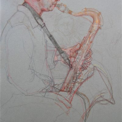 Pastel on Two Rivers handmade paper. 55cm x 75cm approx. Done live during musicians weekly 2 hour evening practise session. I took photos of the Saxophone in order to complete to my satisfaction in the studio with this image.