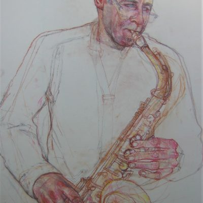 Pastel on Canson paper. 50cm x 70cm approx. Done live during musicians weekly 2 hour evening practise session. I took photos of the Saxophone to complete in the studio with this image.