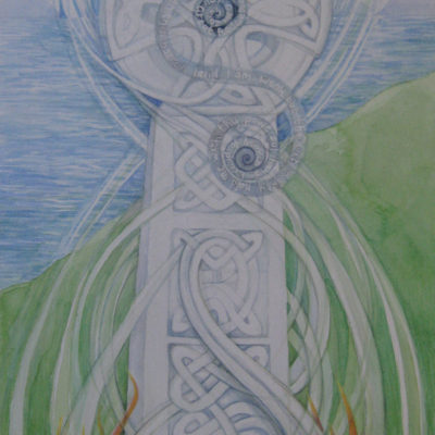 """Celtic Cross. Commission. Watercolour on Two Rivers handmade paper. 30cm x 55cm approx. """"Tracey is a rare artist in that she can take ones vision and make it happen on canvas. She does does not impose her own interpretation of the piece of work but allows herself to be the conduit through which the clients ideas flow. A talented and selfless artist""""  Fr Shane"""