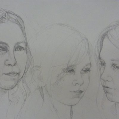 Pencil on paper 30cm x 40cm approx.  Live sitting x 3 girls on one paper.  This was commissioned  as a surprise special present for a family member who didn't live nearby and consequently didn't see the children as often as everyone would like.  One of the sisters was not immediately available so we arranged a mutually convenient second sitting to complete the line up as you see here.  Their grandmum was extremely moved on receipt of the drawing and the likenesses I was told.