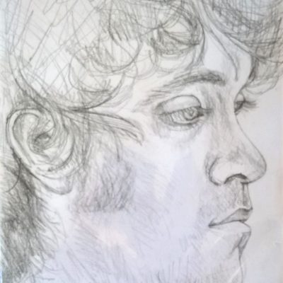 "Pencil . Live sitting. 20cm x 30cm approx. ""This is an amazing picture of Daniel. A lovely surprise present too! You are a very gifted and talented lady. I would recommend you."" Mary, Mullion. Cornwall"