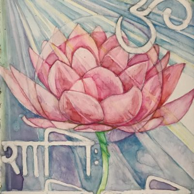 Lotus. Half of a pair. Commission. Watercolour on wood block with Gold Leaf 15cm x 20 cm approx A 50th birthday present, fitting a pretty particular brief on size, content and media. Also liaised well once work was underway with photos to check all was as she wanted.